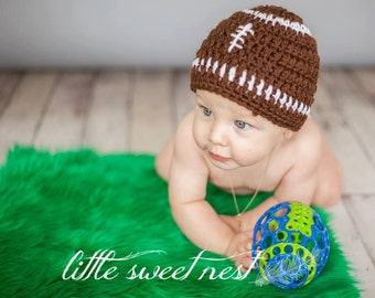 Baby Football Hat for Newborn Boys or Girls / PERFECT for Photo Props or Baby Shower Gifts / Crochet Football Hat for Baby / ready to ship