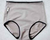 Custom underwear, Organic cotton french brief - high rise taupe grey panty