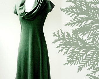 Tunic dress with oversized cowl in forest green or more colors
