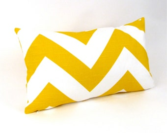 "Mustard Yellow Zig Zag Chevron Stripe Pillow Cover 12"" x 20"""