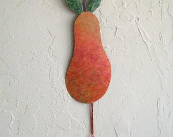 Kitchen metal art pear wall hanging dish towel keys holder pear upcycled metal