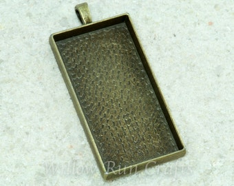 20 pcs 1 7/8 x 7/8 inch Rectangle Pendant Trays Bronze with 20 Rectangle Glass, Blank Bezel Cabochon Setting (19-14-300)