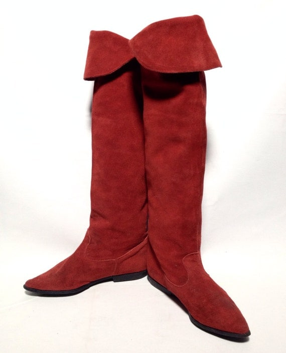 vintage 80s suede otk the knee pirate boots by