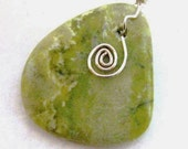 Irish Connemara Marble Pendant. Sterling Silver Celtic Spiral. Optional Sterling Silver Chain. Meadow