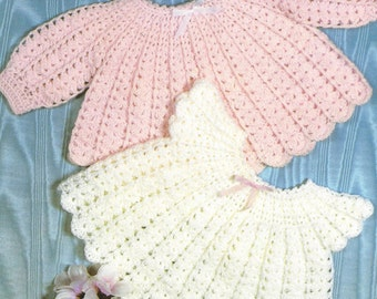 """PDF Crochet Pattern Baby Patterned Angel Top, Short or Long Sleeves to fit size 18/19"""" (X341)"""