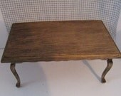 Dollhouse Table,  dark oak stained, twelfth scale miniature, dollhouse dining table