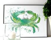 Crab Watercolor Print in Seafoam Green