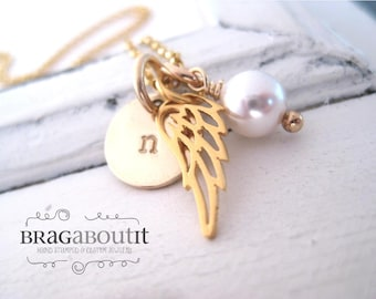 Hand Stamped Jewelry - Personalized Necklace - Brag About It - Gold Wing Jewelry - Little Charmer (Wing Charm)