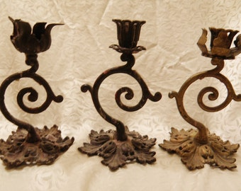 Iron Trio Candleholders Rusty Waxy Distressed