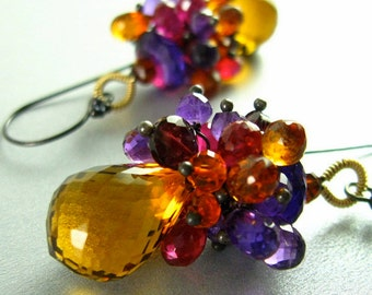 25% Off Summer Sale Madeira Citrine, Amethyst, Garnet and Quartz Wire Wrapped Earrings