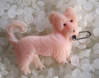 vintage barrette,  pale pink dog