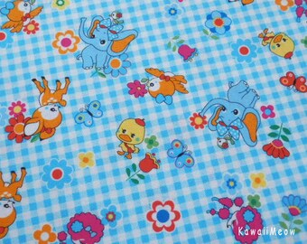"Scrap / Kawaii Japanese Fabric - Cute Animals Flower on Blue - 110cm/43""W x 58cm/22""L - (ko131110)"