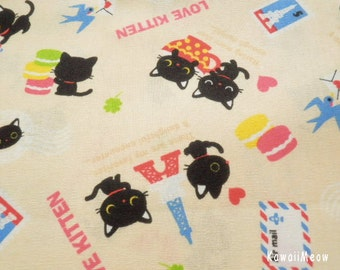 Kawaii Japanese Fabric - Love Kittens Cream - Half Yard - (ta131113)