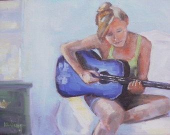 """Figurative Painting, Small Oil Painting, Daily Painting, """"Guitar Practice"""" by Carol Schiff,  6x8"""" Original"""