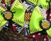 Custom Real Neon Yellow Softball/Baseball Personalized Hairbows