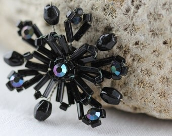 Vintage - Hand Created Black Beads and Rhinestone - Made in Germany - Embellishment - (1) Crafting, Projects, Cabochon, Imported