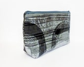 Large Zipper Pouch Cosmetic Bag Toiletry Bag Grey and Black Abstract Swirls - handjstarcreations