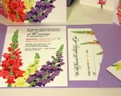 NEW SAMPLE Pocketfold Snapdragon Wedding Invitation, Purple, Pink, Yellow, Orangea, Red
