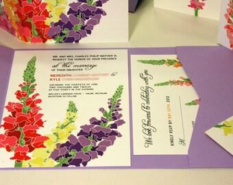 NEW SAMPLE Pocketfold Snapdragon Wedding Invitation, Purple, Pink, Yellow, Orangea, Red