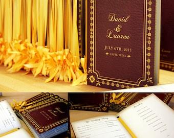 Booklet Programs, Vintage Rustic Weddings, Custom Colors, Gold, Red, Brown, Invitation, RSVP, Save Date, Tree