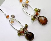 Silver Hoop Earrings Andalusite Wire Wrap Gem Dangle Multicolor Stone Cluster  Sterling Silver Garnet, Citrine, Brown Quartz