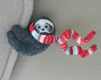 Sloth Car Visor cling on - plush stuffed animal with bendable legs and red stripe scarf - felt rain forest animal