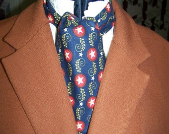 "Ascot or Carvat Civil War Union with Stars cotton fabric 4"" x 43"" Mens Historial Bow Tie, cravat tie"