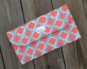 Coral and Blue Diaper Clutch with Changing Pad - Coral - Blue -  Baby Shower Gift - Boy - Girl - Gender Neutral - Wipes Holder