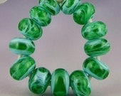a set of 13 small marbled green & blue rondelles handmade lampwork beads spacers - Spun Green