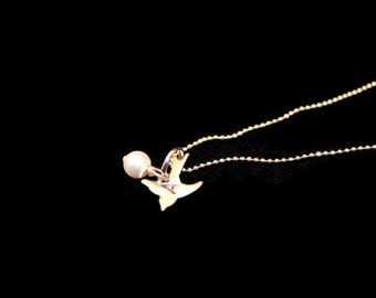 Personalized Bird Charm necklace.  You pick the Initial as well as the Sawavorski Crystal or Pearl.