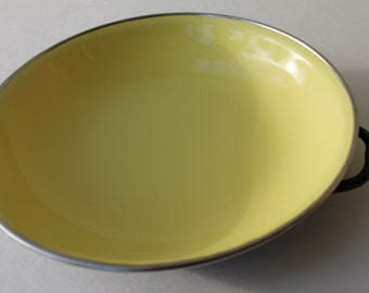 Vintage Enamel Pan Cookware Enamelware Made in Yugoslavia Yellow with handles