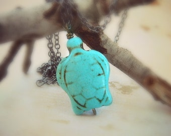 Turtle Necklace Turquoise Blue Aqua Ocean Sea Brown