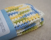 Wash Cloths, Dish Cloths, Cotton -  Light Blue, Green, Yellow, and White - Crocheted 3 Piece Set