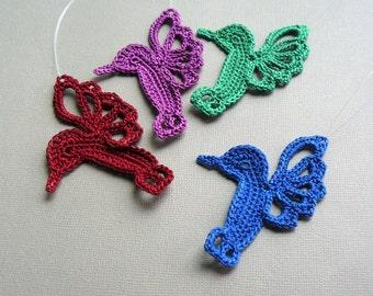4 Crochet Hummingbird Ornaments -- Jewel Toned Hummingbirds -- Assortment H1