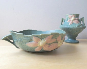 roseville pottery clematis green pink console bowl 457 - 8 handled dish
