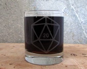 d20 Gamer Dice Sandblasted Etched Old Fashioned Cocktail Glass