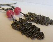 Antique Bronze Owl Earrings