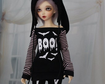 Minifee BOO! Bats Shirt, MNF Black and White BJD Shirt 1/4 Size Ball Jointed Doll Clothes - Msd abjd - Halloween Goth Style