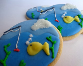 FISHING SUGAR COOKIES, 12 Decorated Sugar Cookie Favors
