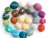 Felted Stones, Needle Felted Wool, Assorted Colors of your choice, customized - 20