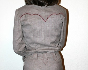 Vintage Equestrian Western shirt and Pants Stitching Horse Show Outfit Riding Gear