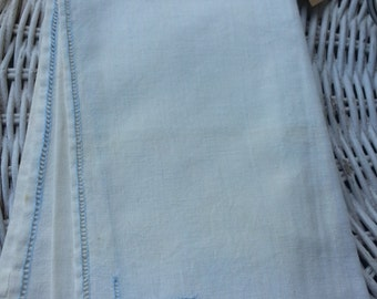 vintage napkins set of seven pale blue hand embroidery - dinner