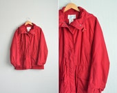 vintage '90s red wine CLASSIC PARKA with detachable HOOD. size l xl 1x 2x.