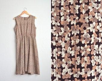 vintage BROWN FLORAL sleeveless MIDI dress. size xl.