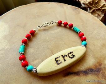 Cherokee Language Bracelet, Turquoise Jewelry, Native Style Jewelry, Love Jewelry, Handcrafted Jewelry, Tribal Jewelry, Turquoise and Red