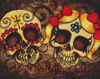 Modern Cross Stitch Kit By Shayne of the Dead 'Day of the dead couple' - Needlecraft kit