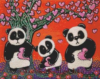 Modern Cross Stitch Kit -  Tree Of Hearts by Laura Barbosa - Panda - Love