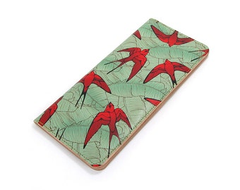 Leather Purse - Scarlet Swallows and Teal Leaf