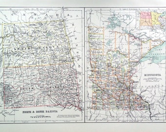 1890 Large Special Library Edition Vintage Map of North and South Dakota and Minnesota