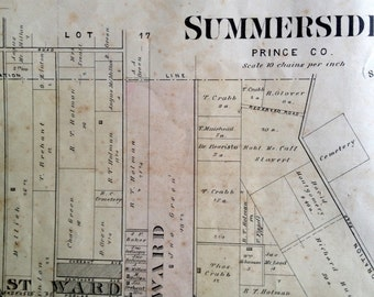 1880 Rare Vintage Map of Summerside, PEI (First to Third Wards) - Vintage City Map - Old City Map - Handcolored